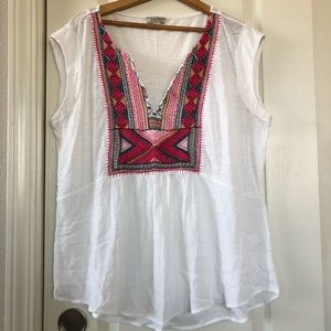 Lucky Brand Boho Embroidered Top